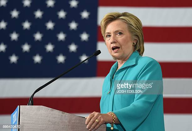 Democratic presidential candidate Hillary Clinton speaks at a campaign event in Reno Nevada on August 25 2016 Clinton remarked that her opponent...