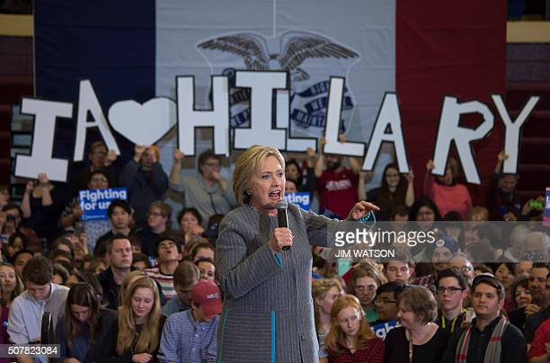 TOPSHOT Democratic presidential candidate Hillary Clinton speaks at Abraham Lincoln High School in Des Moines Iowa January 31 one day before the much...