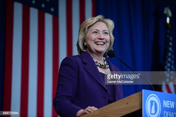 Democratic Presidential candidate Hillary Clinton speaks at the Jefferson Jackson Dinner at the Radisson Hotel November 29 2015 in Manchester New...