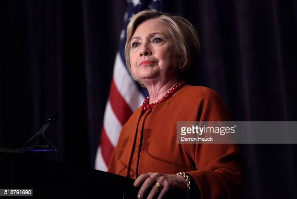 Democratic Presidential Candidate Hillary Clinton speaks at the Founders Day Dinner on April 2 2016 in Milwaukee Wisconsin Candidates are campaigning...