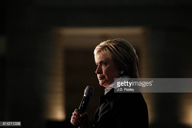 Democratic Presidential Candidate Hillary Clinton speaks at the Charles H Wright Museum of African American History March 7 in Detroit Michigan...