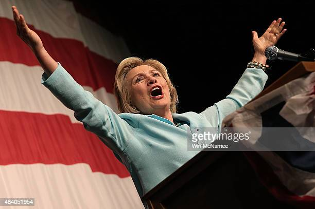 Democratic presidential candidate Hillary Clinton speaks at the Iowa Democratic Wing Ding August 14 2015 in Clear Lake Iowa The Wing Ding is held at...