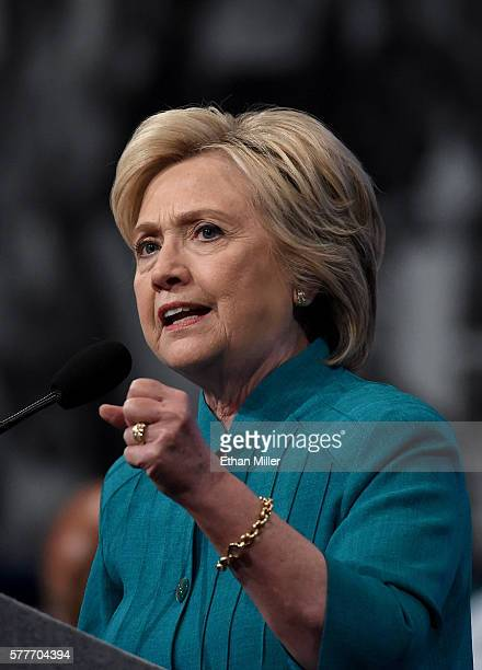 Democratic presidential candidate Hillary Clinton speaks at the American Federation of State County and Municipal Employees 42nd International...
