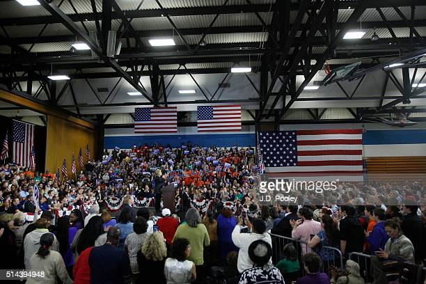 Democratic Presidential Candidate Hillary Clinton speaks at the Recreation Center on the campus of the Cuyahoga Community College March 8 in...