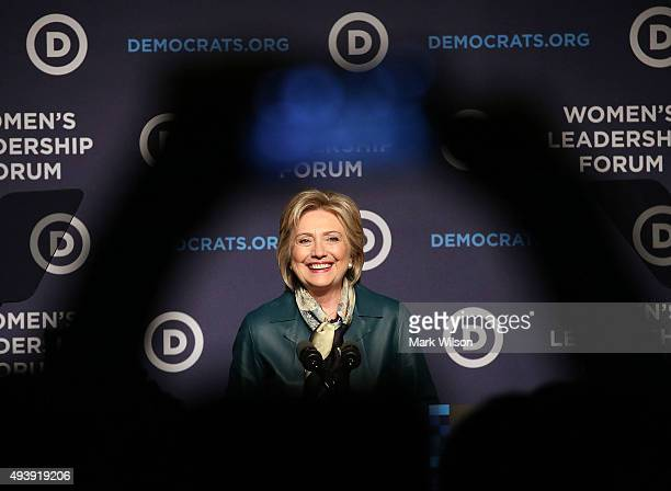 Democratic Presidential candidate Hillary Clinton speaks at the Democratic National Committee's Women's Leadership Forum October 23 2015 in...
