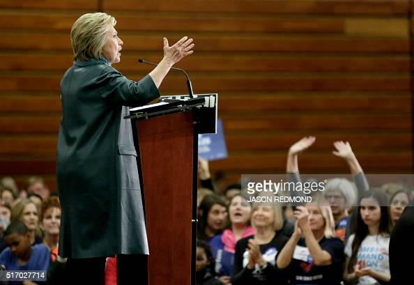 Democratic presidential candidate Hillary Clinton speaks during a rally at Rainer Beach High School in Seattle on March 22 2016 AFP PHOTO/JASON...