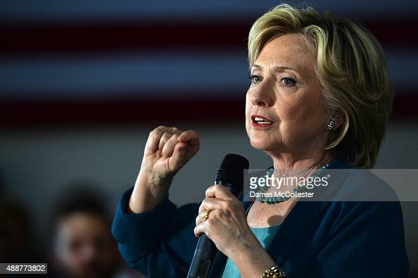 Democratic Presidential candidate Hillary Clinton speaks during a community forum on substance abuse September 17 2015 in Laconia New Hampshire...