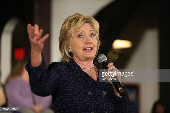Democratic presidential candidate Hillary Clinton speaks during a campaign stop at the Electric Park Ballroom on January 11 2016 in Waterloo Iowa...