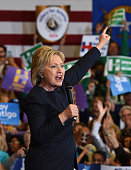 Democratic presidential candidate Hillary Clinton speaks during a getoutthecaucus event on February 13 2016 in Las Vegas Nevada Clinton is...