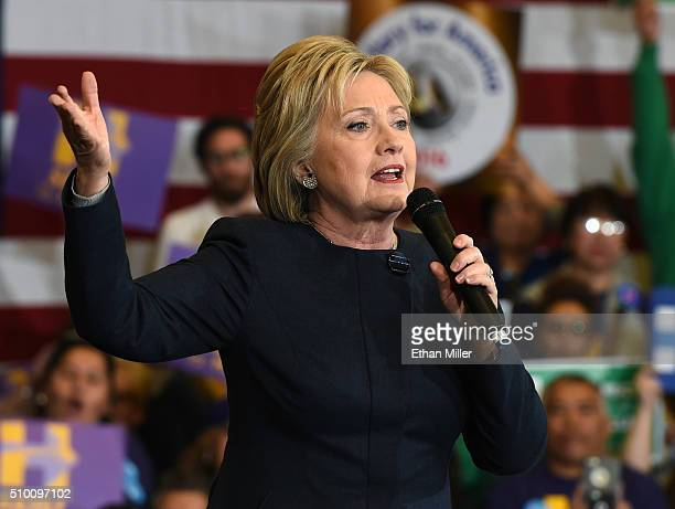 Democratic presidential candidate Hillary Clinton speaks during a getoutthecaucus event on February 13 2016 in Henderson Nevada Clinton is...