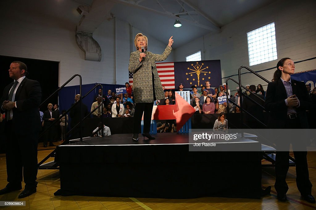 Democratic presidential candidate <a gi-track='captionPersonalityLinkClicked' href=/galleries/search?phrase=Hillary+Clinton&family=editorial&specificpeople=76480 ng-click='$event.stopPropagation()'>Hillary Clinton</a> speaks during a campaign stop at the Douglass Park Gynasium on May 1, 2016 in Indianapolis, Indiana. Presidential candidates continue to campaign across the state leading up to Indiana's primary day on May 3.