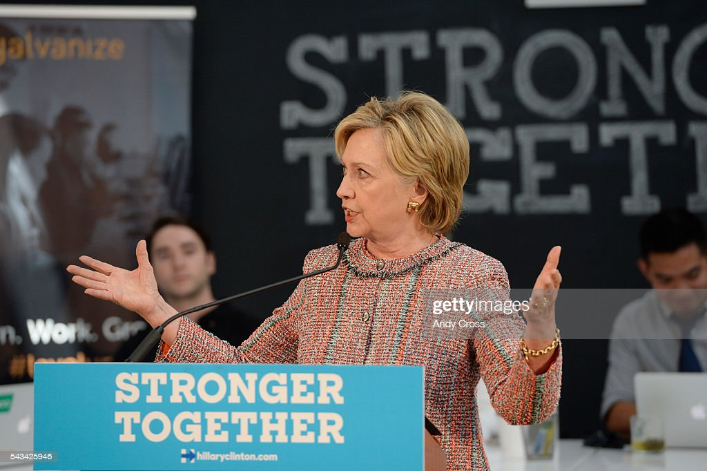 Democratic Presidential candidate <a gi-track='captionPersonalityLinkClicked' href=/galleries/search?phrase=Hillary+Clinton&family=editorial&specificpeople=76480 ng-click='$event.stopPropagation()'>Hillary Clinton</a> speaks during a campaign stop at Galvanize June 28, 2016.