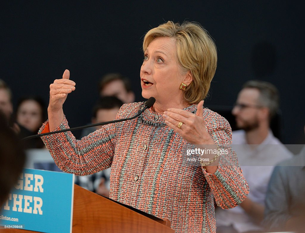 Democratic Presidential candidate Hillary Clinton speaks during a campaign stop at Galvanize June 28, 2016.