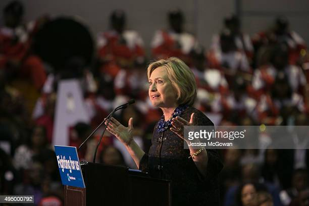 Democratic presidential candidate Hillary Clinton speaks during an 'African Americans For Hillary' rally at Clark Atlanta University on October 30...