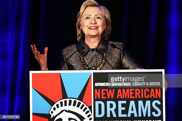 Democratic presidential candidate Hillary Clinton speaks during the National Immigrant Integration Conference on December 14 2015 in New York City...