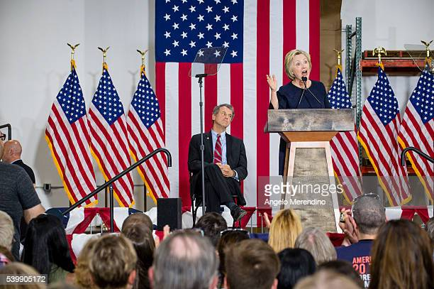 Democratic presidential candidate Hillary Clinton speaks to supporters at the Cleveland Industrial Innovation Center on June 13 2016 in Cleveland...