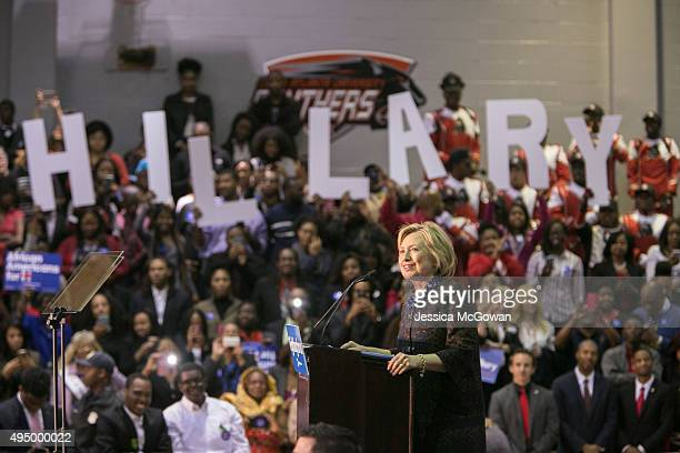 Democratic presidential candidate Hillary Clinton speaks to supporters during an 'African Americans For Hillary' rally at Clark Atlanta University on...