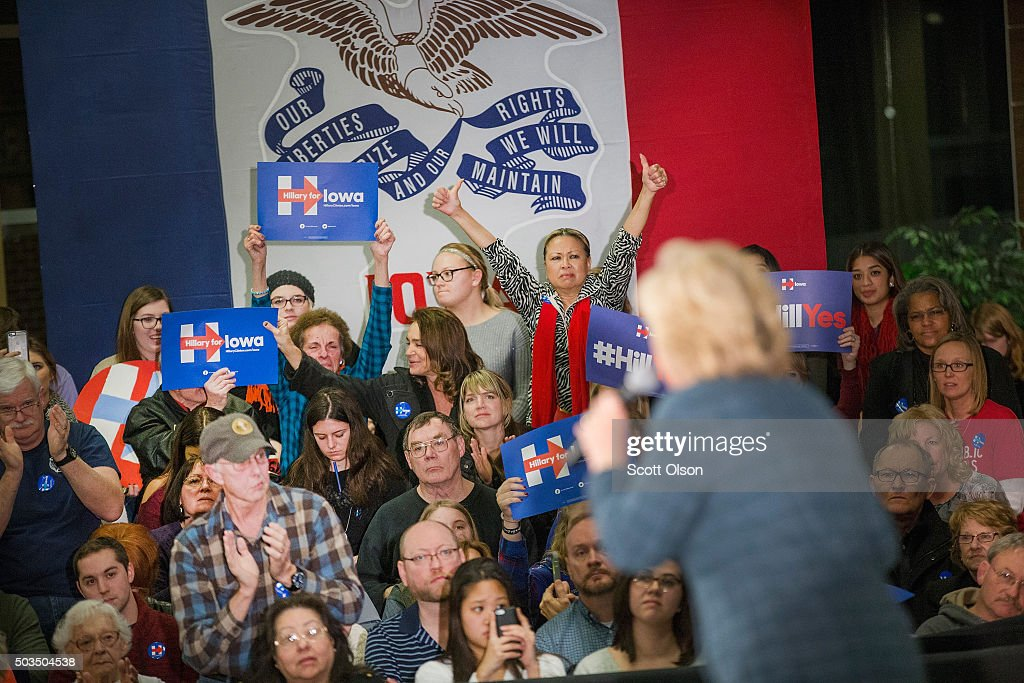 Democratic presidential candidate Hillary Clinton speaks to guests during a rally at Iowa Western Community College on January 5 2016 in Council...