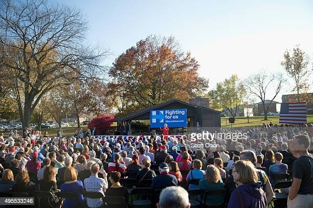 Democratic presidential candidate Hillary Clinton speaks to guests at a campaign event on November 3 2015 in Coralville Iowa A recently released poll...