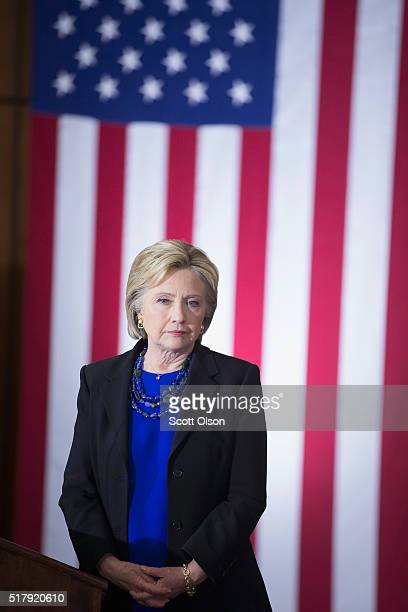 Democratic presidential candidate Hillary Clinton speaks to guests gathered for a campaign rally at the University of WisconsinMadison on March 28...