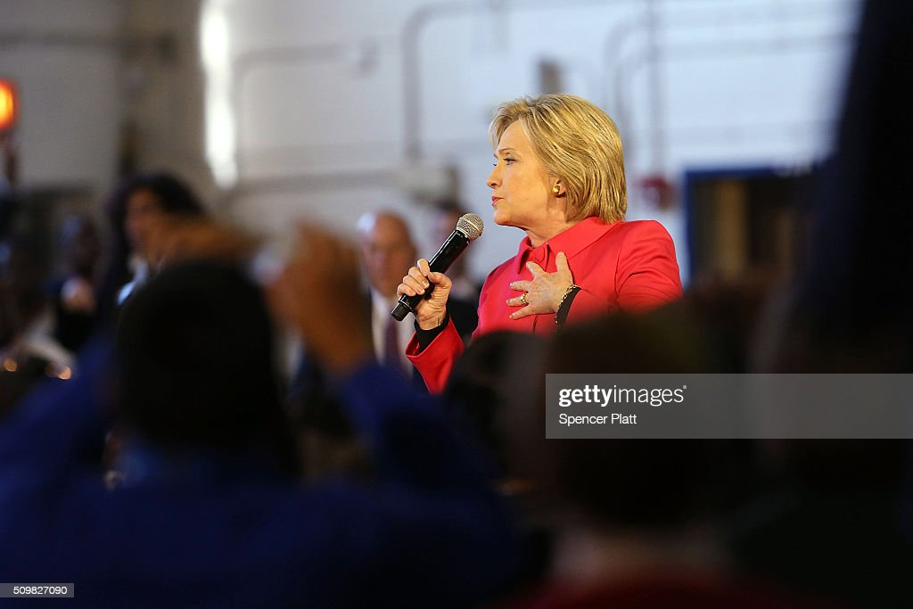 Democratic presidential candidate <a gi-track='captionPersonalityLinkClicked' href=/galleries/search?phrase=Hillary+Clinton&family=editorial&specificpeople=76480 ng-click='$event.stopPropagation()'>Hillary Clinton</a> speaks to voters in South Carolina a day after her debate with rival candidate Bernie Sanders on February 12, 2016 in Denmark, South Carolina. Clinton is counting on strong support from the African American community in South Carolina to give her a win over Sanders in the upcoming primary on February 27.