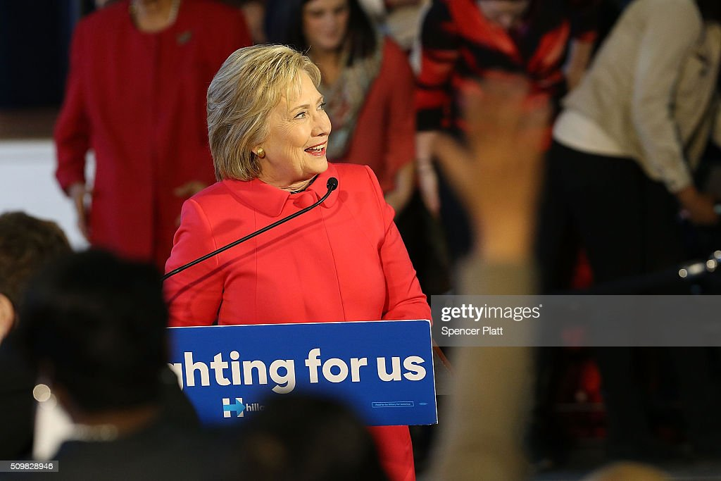 Democratic presidential candidate <a gi-track='captionPersonalityLinkClicked' href=/galleries/search?phrase=Hillary+Clinton&family=editorial&specificpeople=76480 ng-click='$event.stopPropagation()'>Hillary Clinton</a> speaks to voters in South Carolina a day after her debate with rival candidate Sen. Bernie Sanders (D-VT) on February 12, 2016 in Denmark, South Carolina. Clinton is counting on strong support from the African American community in South Carolina to give her a win over Sanders in the upcoming primary on February 27.