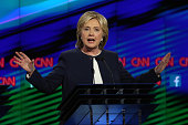 Democratic presidential candidate Hillary Clinton takes part in a presidential debate sponsored by CNN and Facebook at Wynn Las Vegas on October 13...