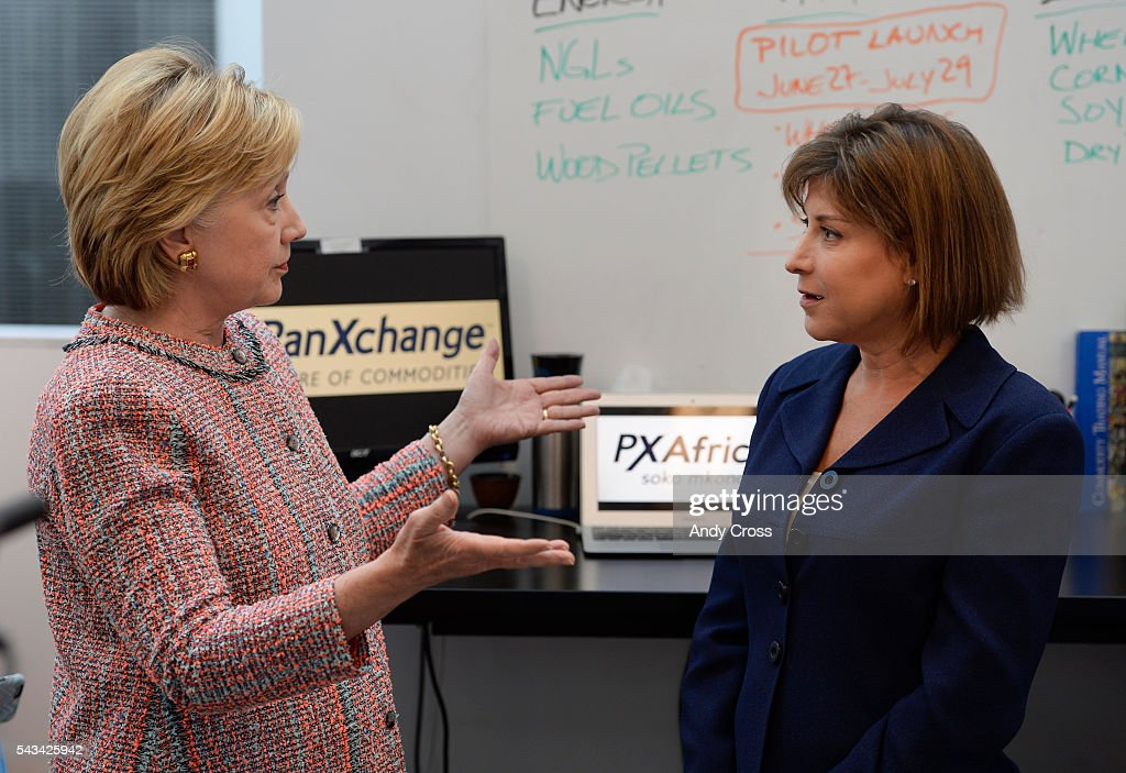 Democratic Presidential candidate <a gi-track='captionPersonalityLinkClicked' href=/galleries/search?phrase=Hillary+Clinton&family=editorial&specificpeople=76480 ng-click='$event.stopPropagation()'>Hillary Clinton</a> talks with PanXchange CEO Julie Lerner, left, during a campaign stop at Galvanize June 28, 2016.