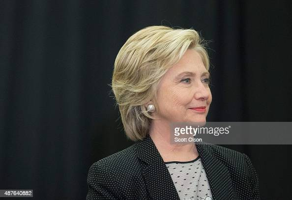Democratic presidential candidate Hillary Clinton waits to be introduced at a campaign event at the University of WisconsinMilwaukee on September 10...