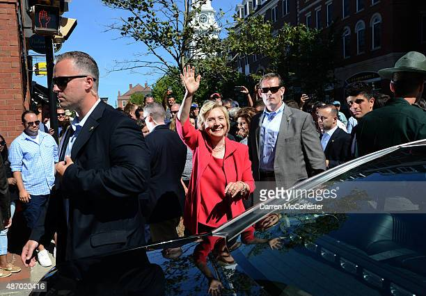 Democratic Presidential candidate Hillary Clinton walks downtown Portsmouth September 5 2015 in Portsmouth New Hampshire Clinton attended a Women for...