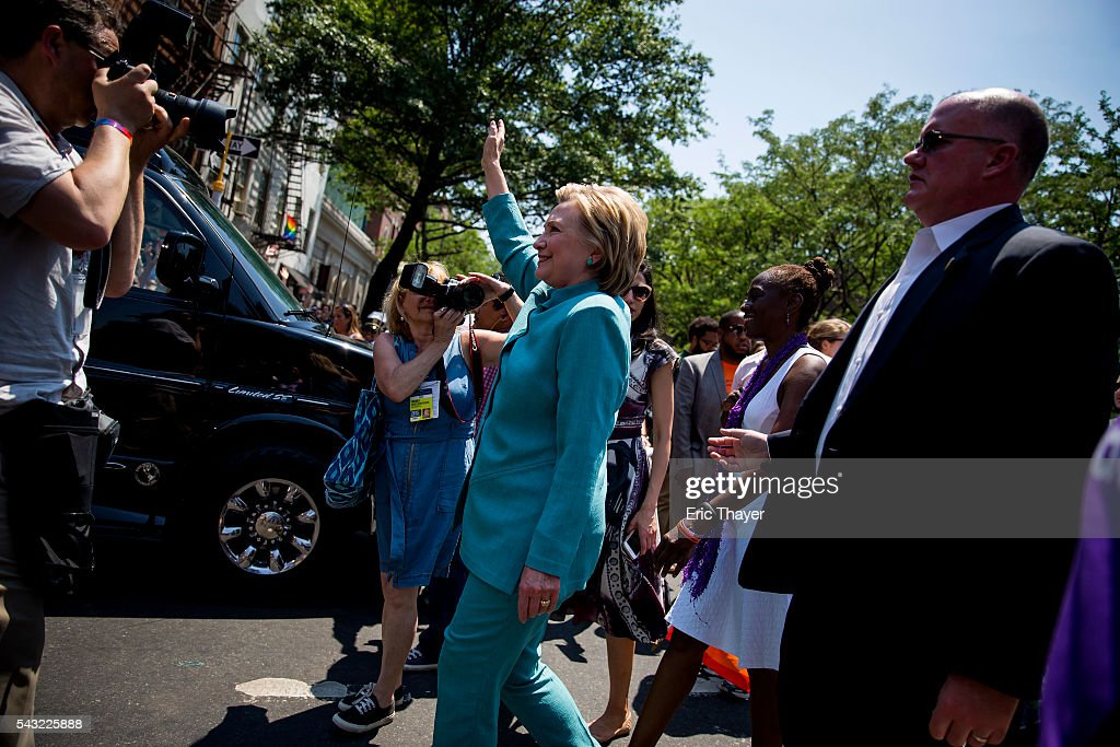 Democratic Presidential candidate Hillary Clinton walks during the New York City Pride March, June 26, 2016 in New York City. This year was the 46th Pride march in New York City