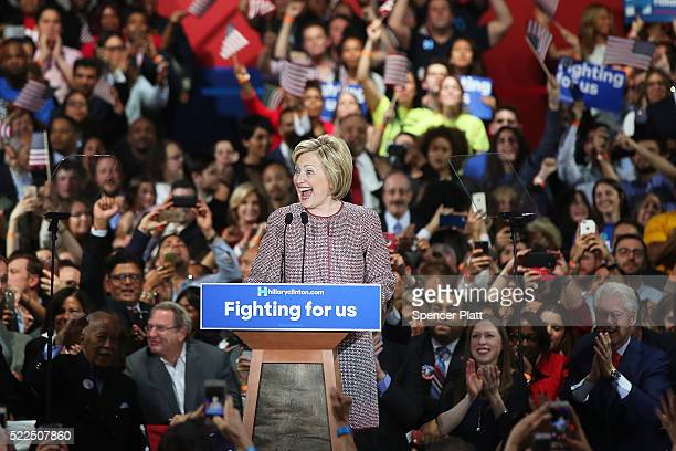 Democratic presidential candidate Hillary Clinton walks on stage after winning the highly contested New York primary on April 19 2016 in New York...
