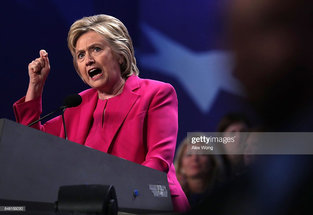 Democratic presidential candidate Hillary Rodham Clinton addresses the 95th Representative Assembly of the National Education Association July 5, 2016 in Washington, DC. Clinton will be joined by President Barack Obama at a campaign stop in Charlotte, North Carolina later today.