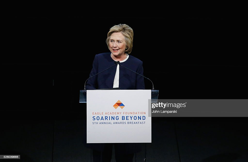 Democratic presidential candidate Hillary Rodham Clinton attends 2016 Eagle Academy Foundation Fundraising Breakfast at Gotham Hall on April 29, 2016 in New York City.