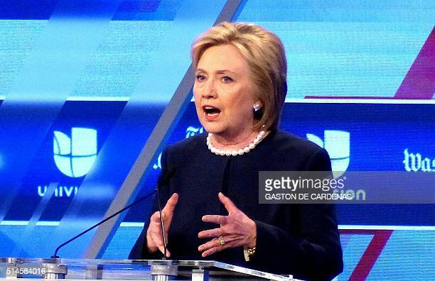 Democratic presidential candidate Hillary Rodham Clinton participates in the democratic presidential debate at Miami Dade College in Miami on March 9...