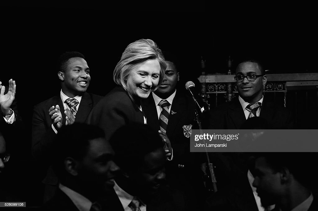 Democratic presidential candidate Hillary Rodham Clinton, President and students from the academy attend 2016 Eagle Academy Foundation Fundraising Breakfast at Gotham Hall on April 29, 2016 in New York City.