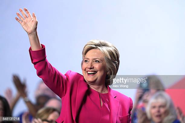 Democratic presidential candidate Hillary Rodham Clinton waves after she addressed the 95th Representative Assembly of the National Education...