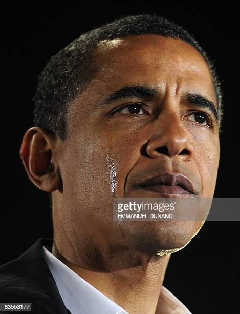 US Democratic presidential candidate Illinois Senator Barack Obama sheds tears while talking about his grandmother Madelyn Dunham who raised him and...