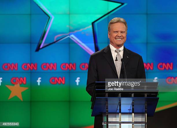 Democratic presidential candidate Jim Webb takes part in a presidential debate sponsored by CNN and Facebook at Wynn Las Vegas on October 13 2015 in...