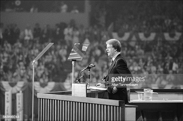 Democratic presidential candidate Jimmy Carter accepts his party's nomination at the Democratic National Convention at Madison Square Garden New York...