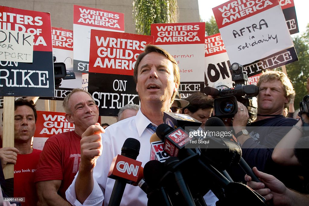 Democratic presidential candidate John Edwards speaks during his visit to WGA writers on the picket line outside of the NBC studios in Burbank...