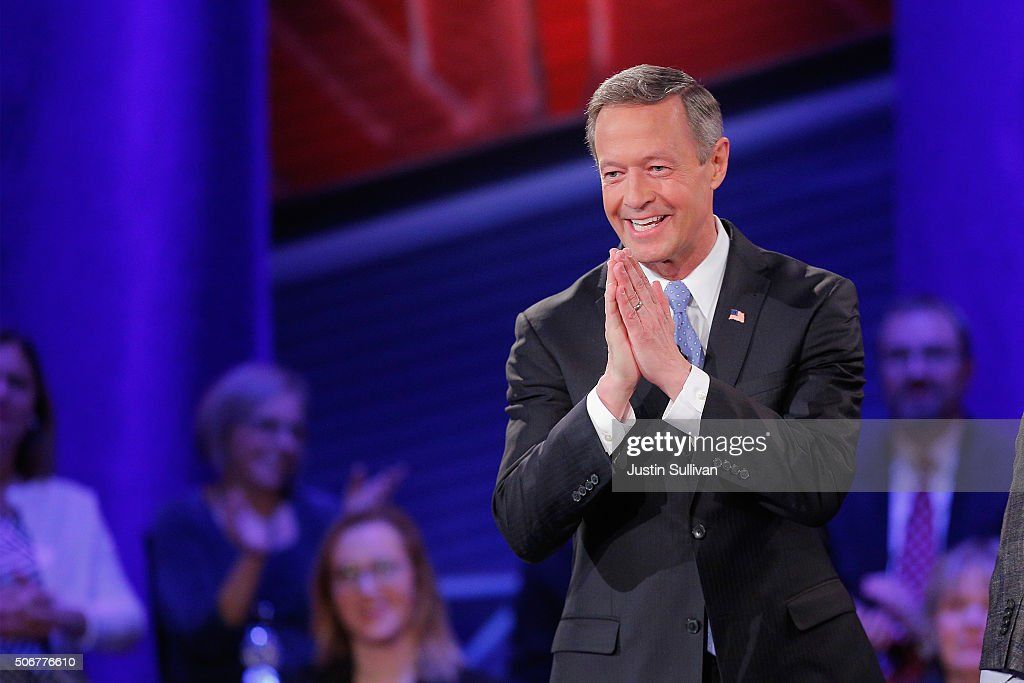 Democratic presidential candidate <a gi-track='captionPersonalityLinkClicked' href=/galleries/search?phrase=Martin+O%27Malley&family=editorial&specificpeople=653318 ng-click='$event.stopPropagation()'>Martin O'Malley</a> participates in a town hall forum hosted by CNN at Drake University on January 25, 2016 in Des Moines, Iowa. O'Malley is in Iowa trying to gain support in front of the states Feb. 1 caucuses.