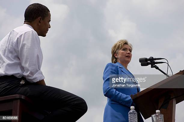 Democratic presidential candidate Sen Barack Obama and Sen Hillary Rodham Clinton attend a show of unity rally June 27 2008 in Unity New Hampshire...