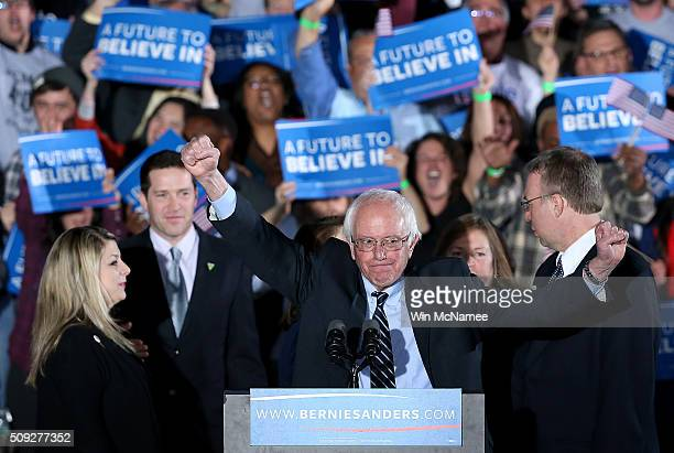 Democratic presidential candidate Sen Bernie Sanders addresses supporters after winning the New Hampshire Democratic Primary February 9 2016 in...