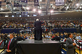Democratic presidential candidate Sen Bernie Sanders addresses his supporters during a rally at Recreation Hall on the campus of Penn State...