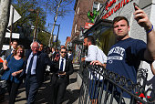 Democratic presidential candidate Sen Bernie Sanders and his wife Jane take a walk around the downtown area of Penn State University before a rally...