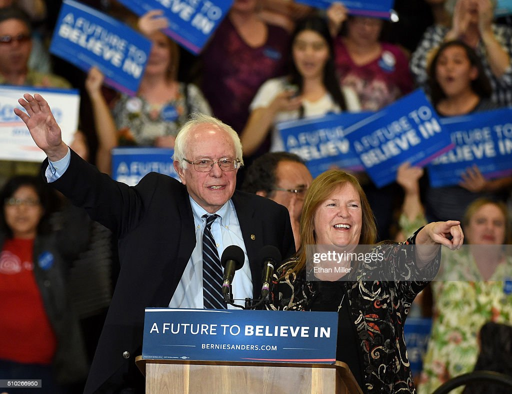 Democratic presidential candidate Sen. <a gi-track='captionPersonalityLinkClicked' href=/galleries/search?phrase=Bernie+Sanders&family=editorial&specificpeople=2908340 ng-click='$event.stopPropagation()'>Bernie Sanders</a> (I-VT) and his wife Jane O'Meara Sanders are introduced at a rally at Bonanza High School on February 14, 2016 in Las Vegas, Nevada. Sanders is challenging Hillary Clinton for the Democratic presidential nomination ahead of Nevada's Feb. 20 Democratic caucus.