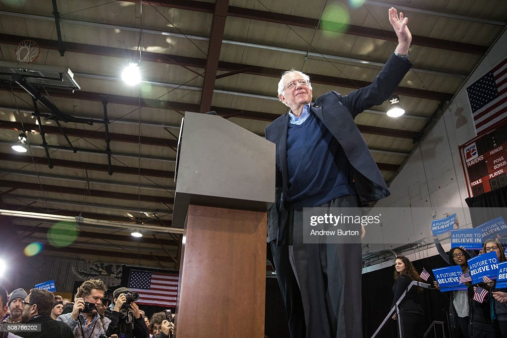 Democratic presidential candidate Sen. <a gi-track='captionPersonalityLinkClicked' href=/galleries/search?phrase=Bernie+Sanders&family=editorial&specificpeople=2908340 ng-click='$event.stopPropagation()'>Bernie Sanders</a> (D-VT) arrives on stage at a campaign rally on February 6, 2016 in Rindge, New Hampshire. Sanders is hoping to win the New Hampshire primary, which takes place on Tuesday, February 9, 2016.
