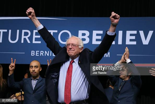 Democratic presidential candidate Sen Bernie Sanders attends a Future to Believe in concert and rally at the Henderson Pavilion as he continues to...