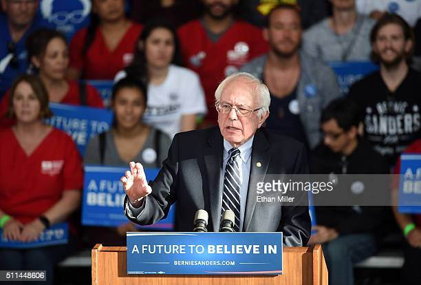Democratic presidential candidate Sen Bernie Sanders gives a concession speech at the Henderson Pavilion on February 20 2016 in Henderson Nevada...